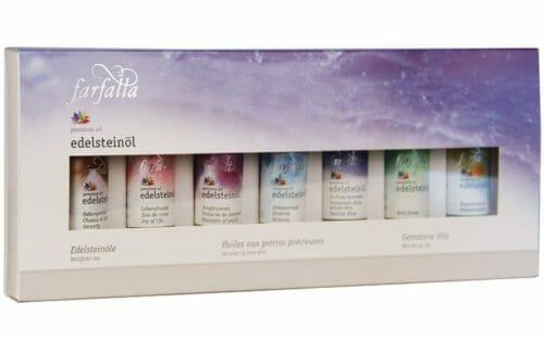 Edelsteinöle Das Wohlfühl-Set 7 x 10ml - Die Fläschchen sind ideal zum Ausprobieren oder als Reisegrösse. Zur Körperpflege und für wohltuende Massagen.
