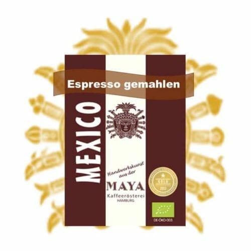 Espresso gemahlen aus Mexiko 100% Arabica aus dem Hochland von Mexiko.Espresso MAYA kommt von der Kooperative Tierra Nueva im Chiapas, einem Verbund von 230 Kleinstbauern.