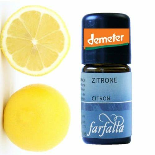 Zitrone Demetervon Farfalla. Viele Eigenschaften sind bekannt. Einige Tropfen Zitronenöl im Trinkwasser z.B. geben dem Wasser Frische und töten Keime.