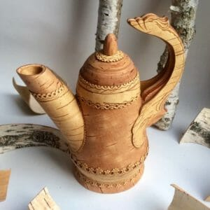 Kaffee Kanne aus Birkenrinde Kunsthandwerk aus Sibirien