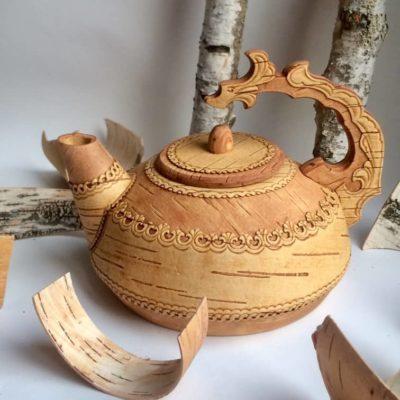 Teekanne aus Birkenrinde Handarbeit