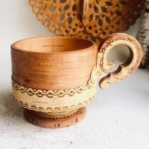 Birkenrinde Kaffee Tassen mit Sockel - Handarbeit aus Sibirien