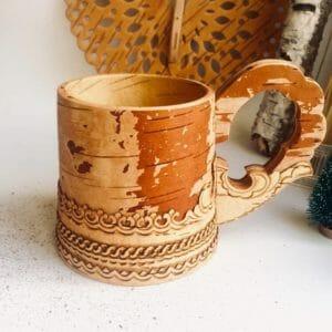 Birkenrinde große Tasse Handarbeit aus Sibirien