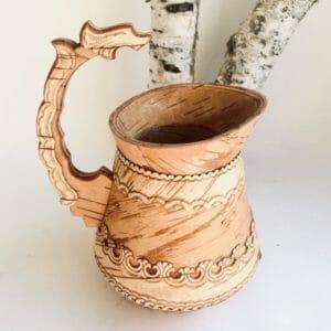 Kleine Milchkanne aus Birkenrinde Handarbeit aus Sibirien